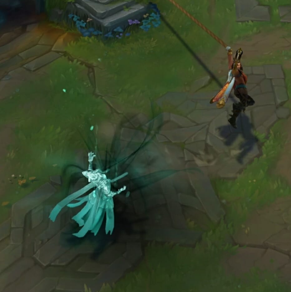 Champion Akshan in LoL Retreating with Heroic Swing after Killing Enemy Champ