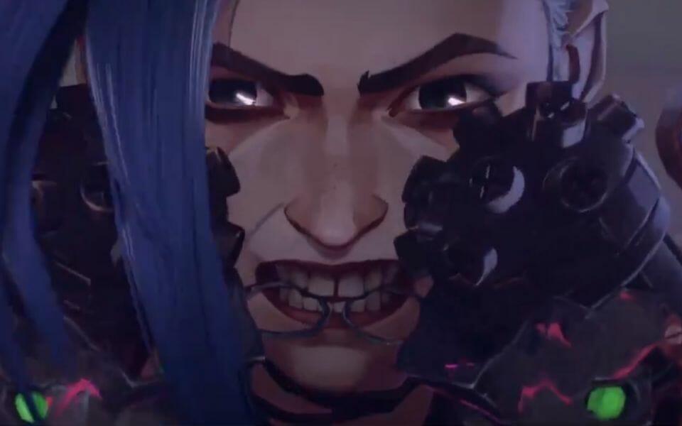 Arcane Anime Screenshot Showing Jinx from LoL Preparing to Shoot Her Guns