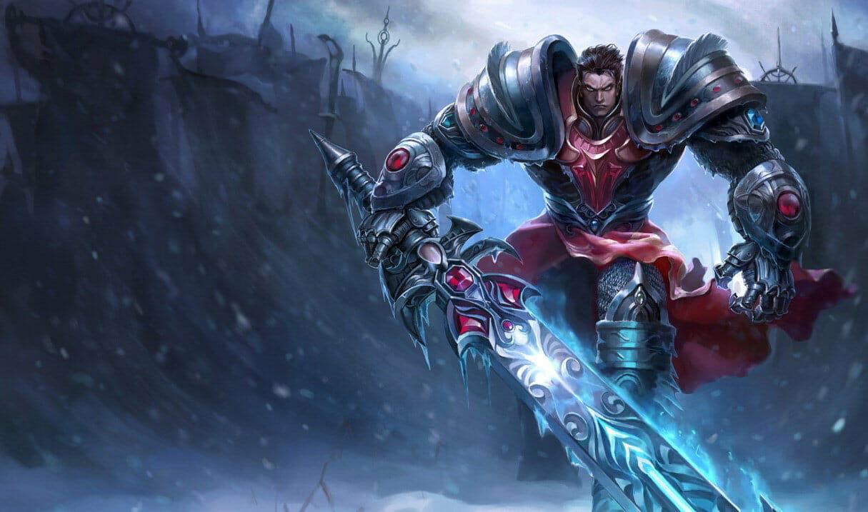 Dreadknight Garen with Glowing Sword in a Frozen Wasteland