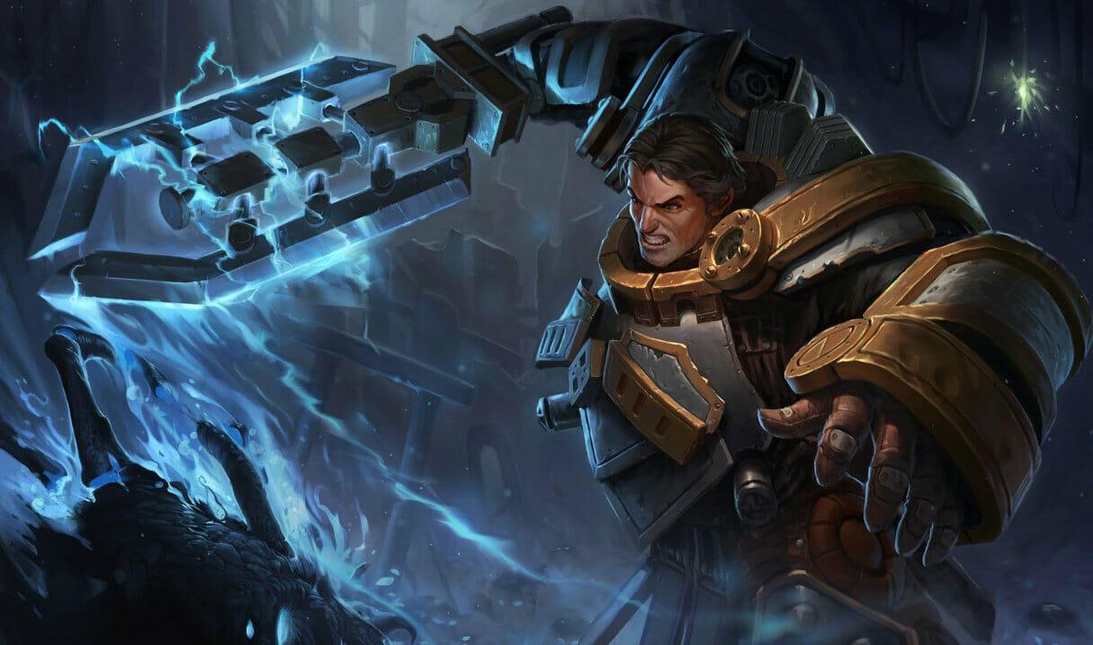 Great Garen Skin Steel Legion with Lightning Arcing on Sword