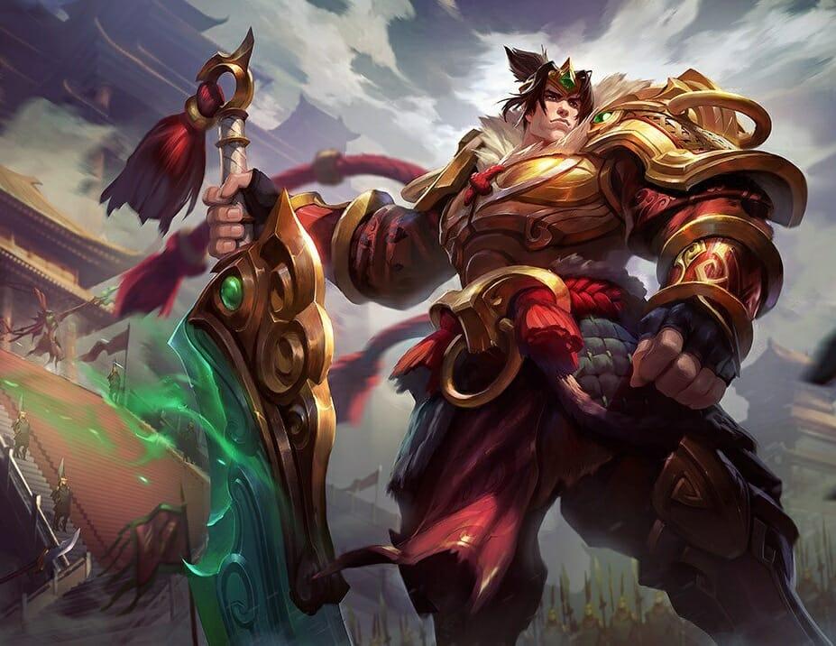 Warring Kingdoms Garen Skin with Golden Armor and a Jade Sword