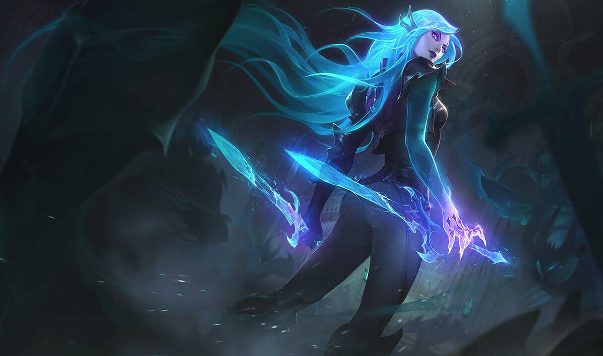 One of the Best Skins You Can Buy for Katarina with Glowing Teal Blades and a Haunted Look