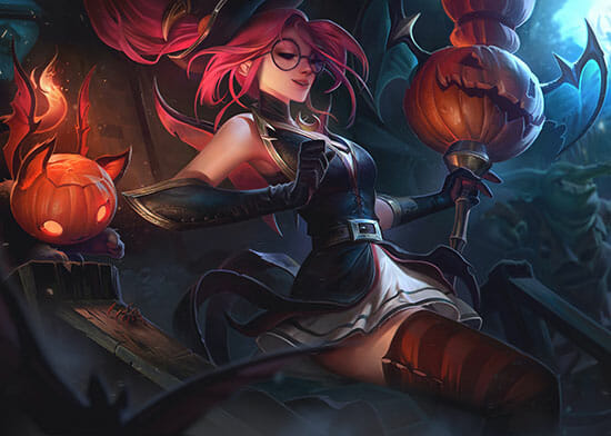 Support role Janna for new players is reclining with pumpkins and a staff made from a pumpkin head.