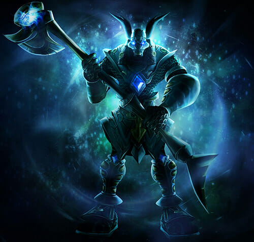 Nasus standing in front of the player is a great champ to play as a beginner to LoL