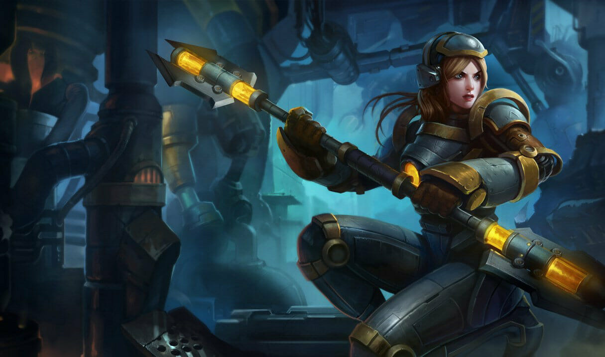 Steel legion for lux in lol with armor on and a futuristic looking staff
