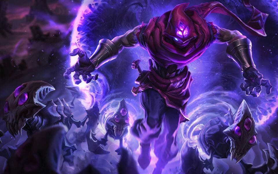 Malzahar Best Skins Showing Malz Commanding His Minions Out of the Purple Void