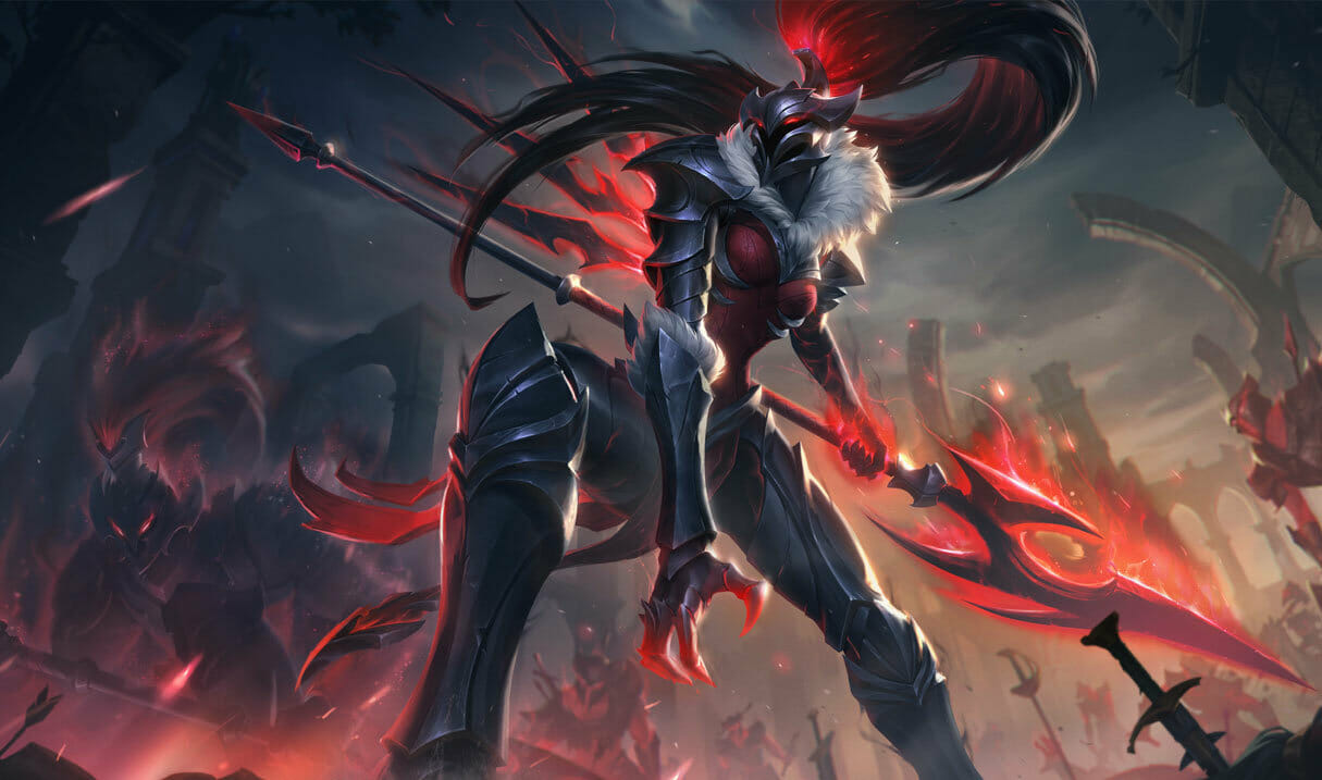 Kalista in Her Red and Black Outfit with Plume on Her Helmet and Spear in Hand