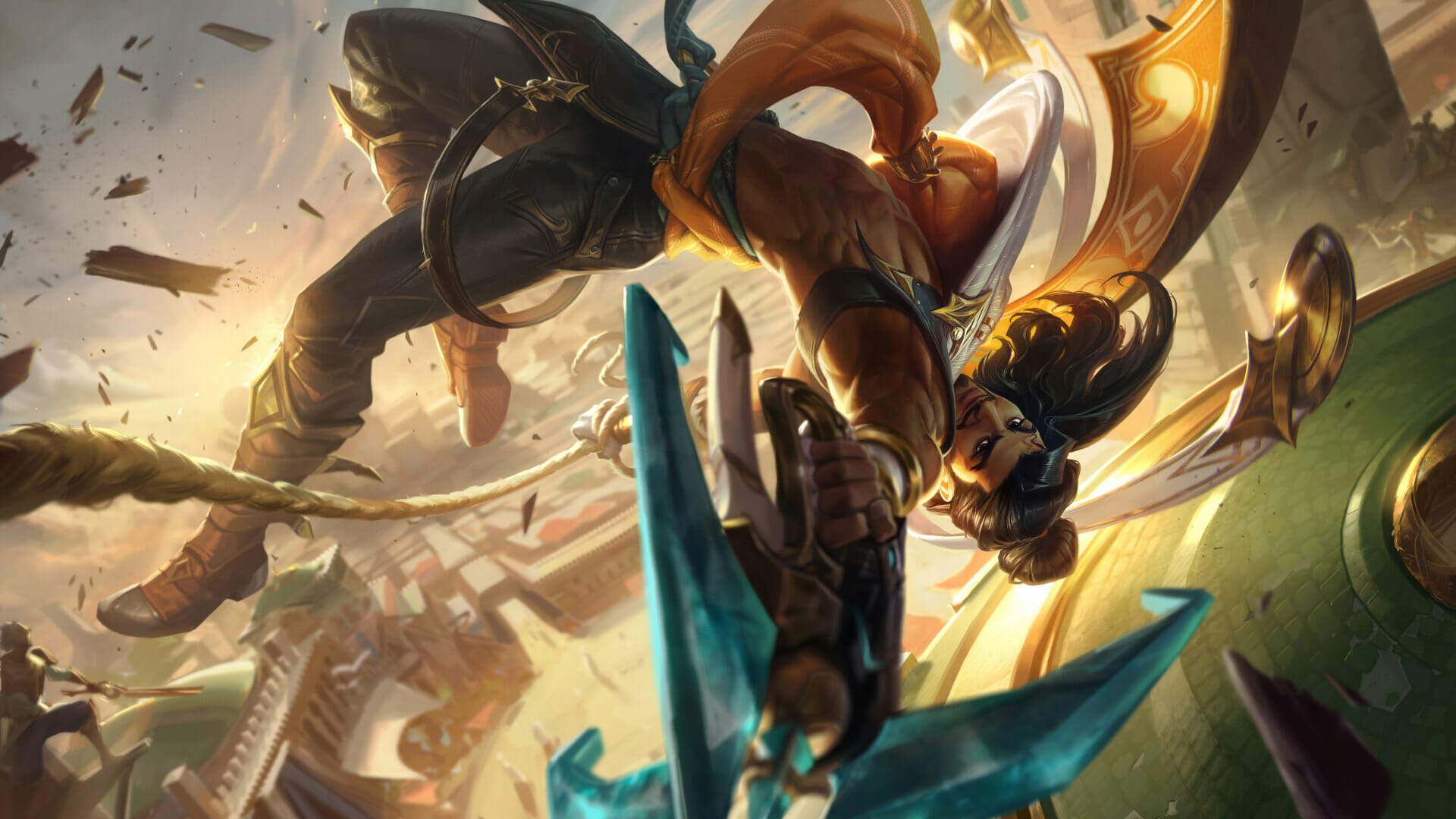 Akshan Champion Chosen in League of Legends doing a Flip in the Air with Weapons