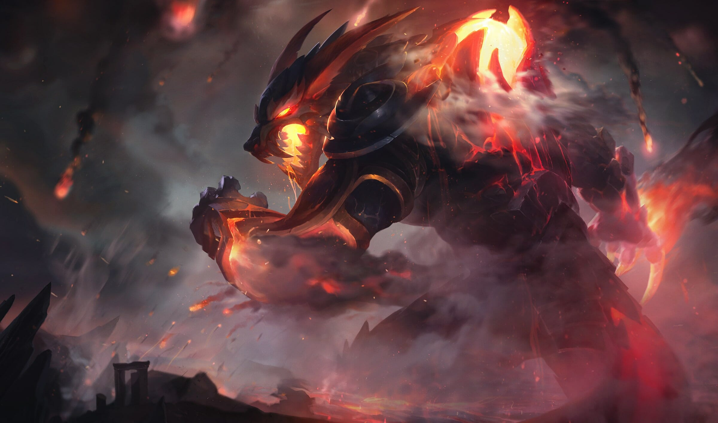 Warick Champion in LoL Glowing with Inner Flames