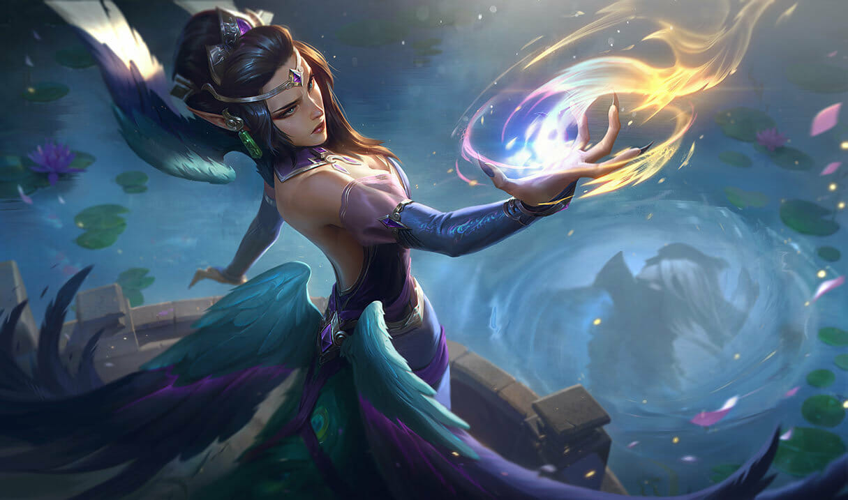 Morgana shooting a beam of light from her hand