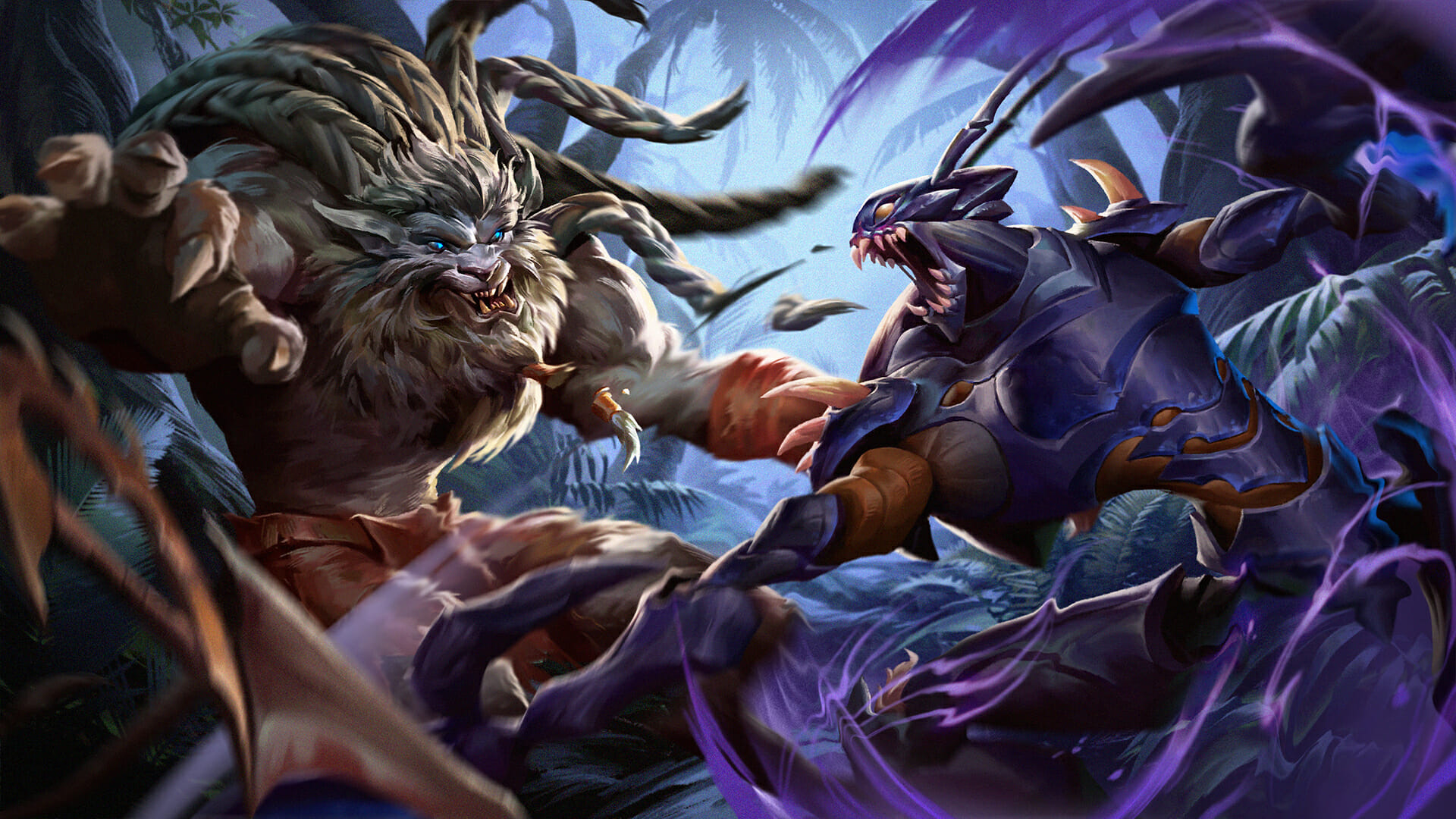 Khazix attacking rengar in the jungle and catching him by surprise