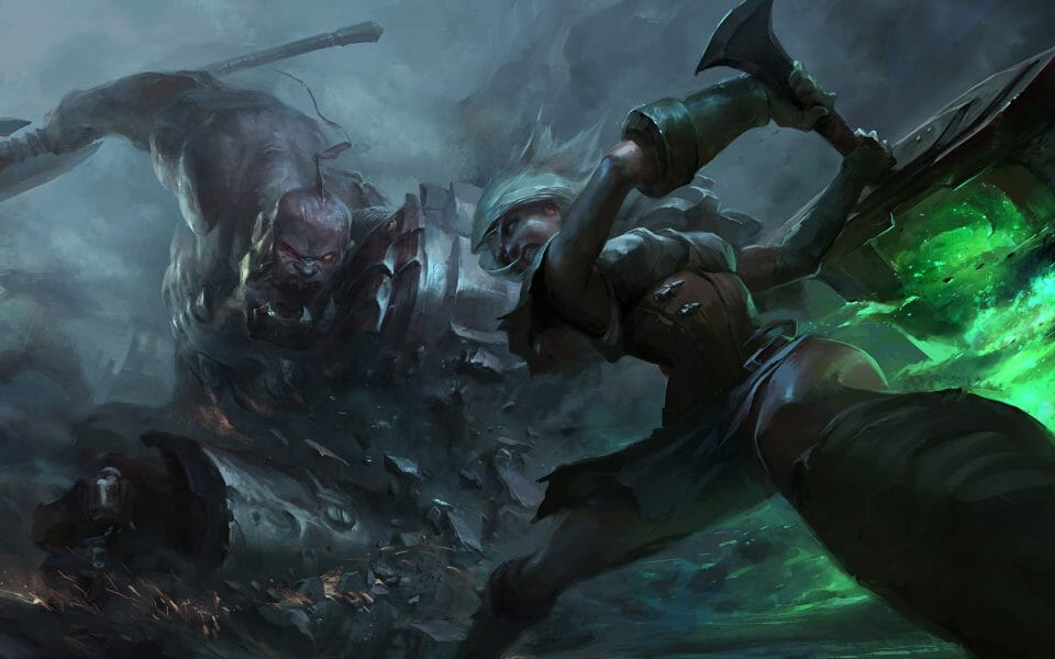 Riven Fighting Sion for Conrol over Lane in League of Legends