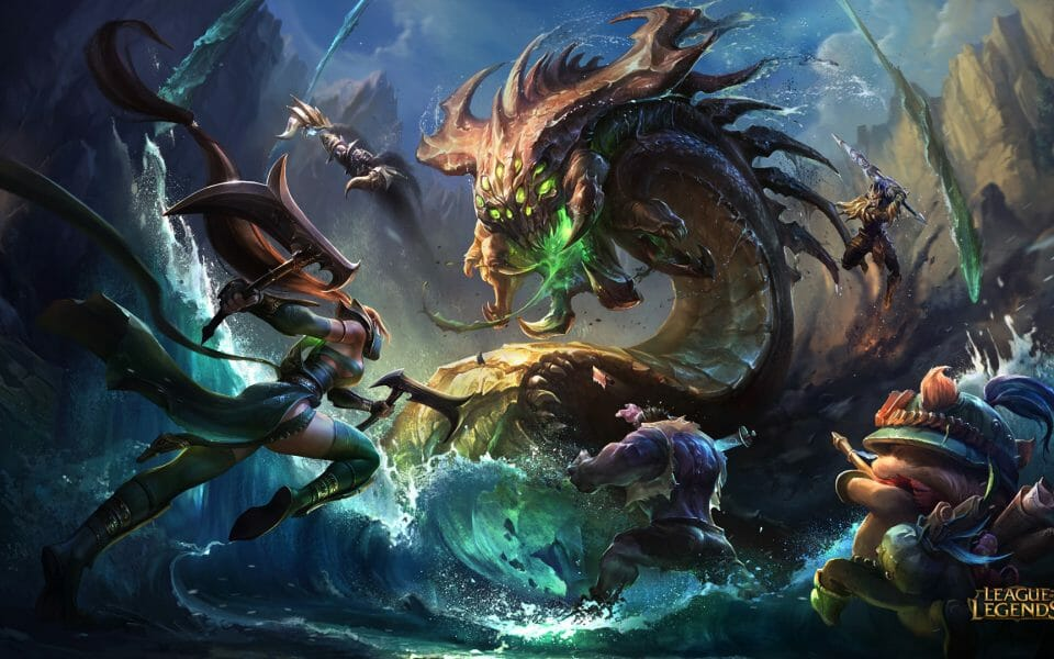 League of Legends Terms and Glossary Is Useful to Understand this Image of Champions Fighting a Monster in LoL