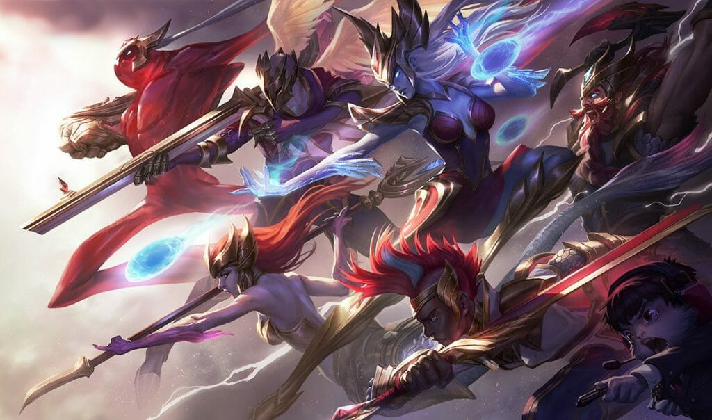 Many League of Legends Champions Charging Forward with High Damage Weapons