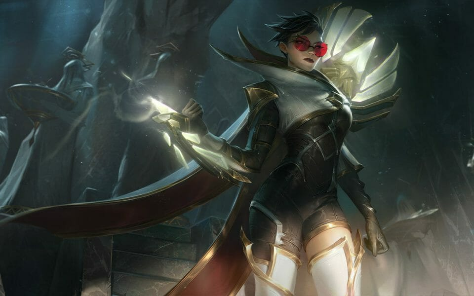 Vayne is Great With LoL On Hit Items Standing in Her Shiny White and Black Armor