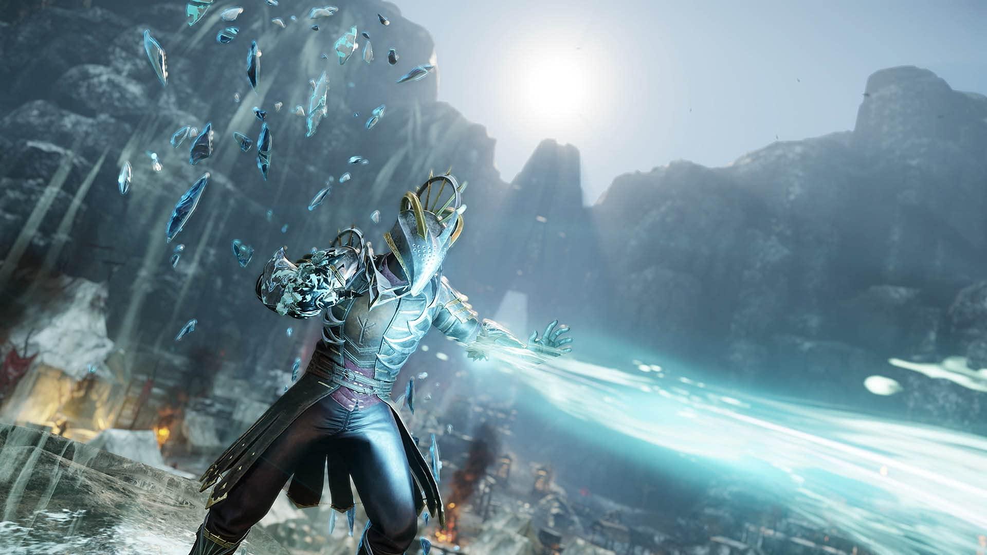 RPG Character Firing Bolt of Lightning Energy While Wearing Armor