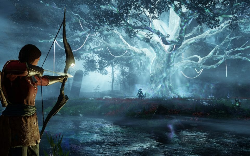 Woman firing an arrow towards a glowing tree in one of the most anticipated RPGs releasing in time for the holidays