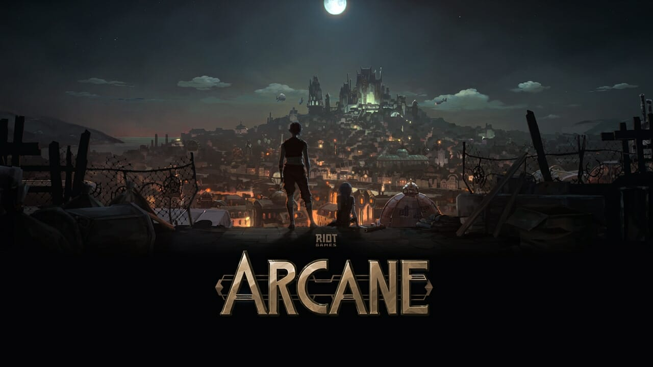 Video Game Characters Looking Out over Town In Arcane Background Story for LoL