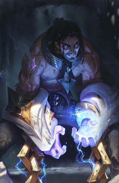 League of Legends Champion Flexing his Muscles with Blue Energy in his Hand