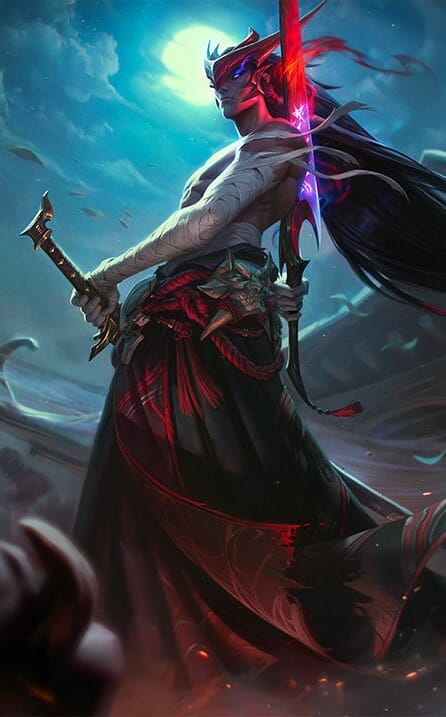 Yone Champion in League of Legends Standing in Front of Full Moon with Hands on Swords and Black Smoke at His Feet